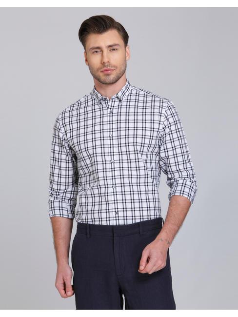 White & Black Check Slim Fit Shirt