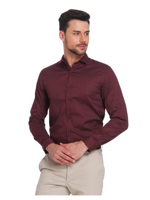 Burgundy Printed Slim Fit Shirt