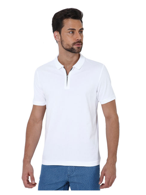 White Zip Up Polo T-Shirt