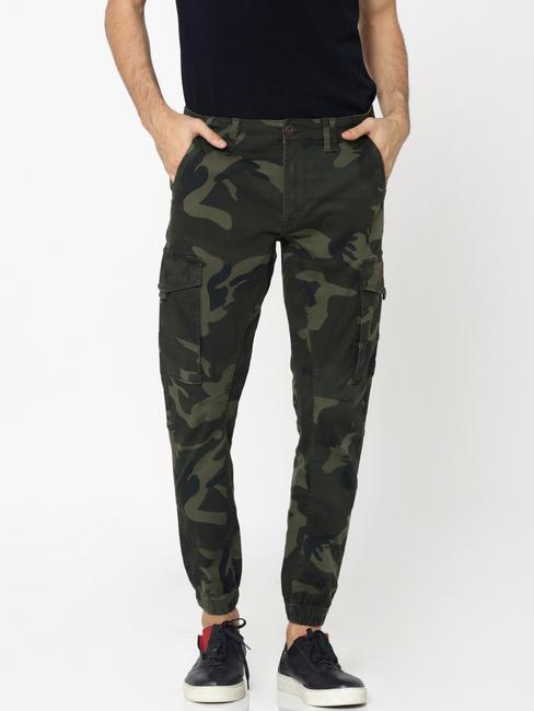 Green Camo Print Anti -Fit Pants