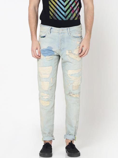 Light Blue Heavy Distressed Erik Anti -Fit Jeans