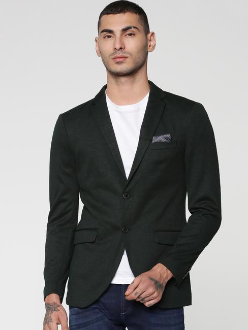 Green Textured Weave Double Button Slim Fit Blazer