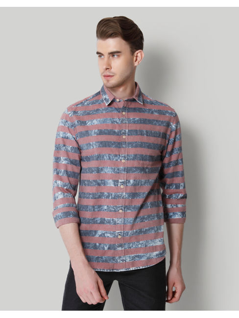 Blue & Grey Striped Shirt