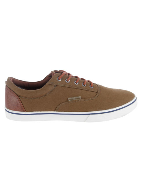 Brown Colourblocked Canvas Sneakers