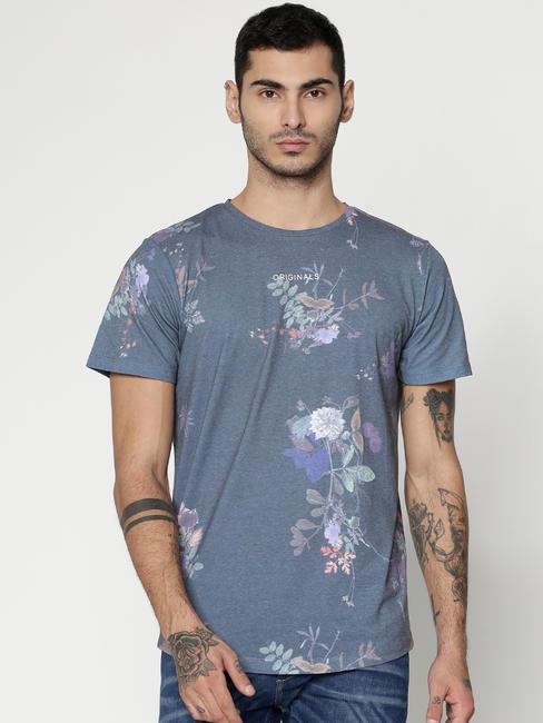 Green Floral Print Slim Fit Crew Neck T-Shirt