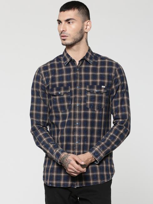 Dark Blue & Brown Full Sleeves Check Shirt