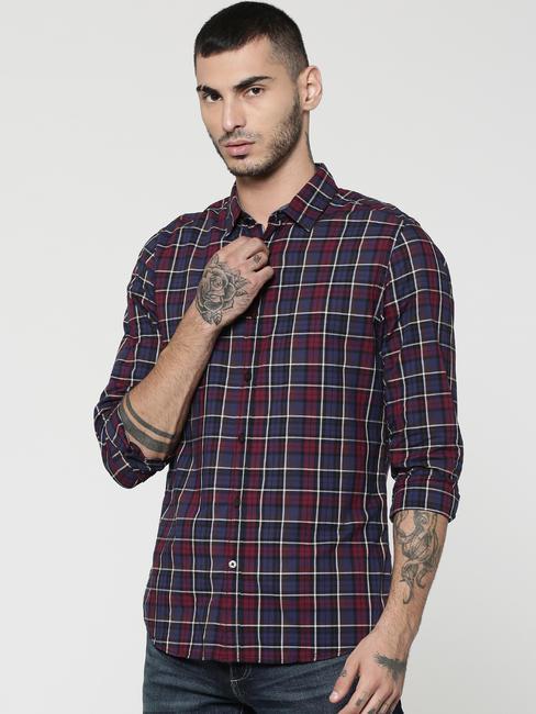 Blue & Burgundy Full Sleeves Check Shirt