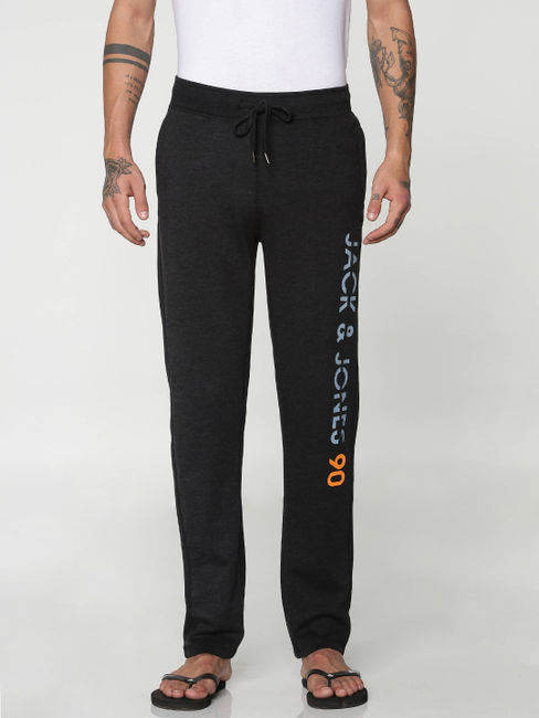 Black Text Print Drawstring Trackpants