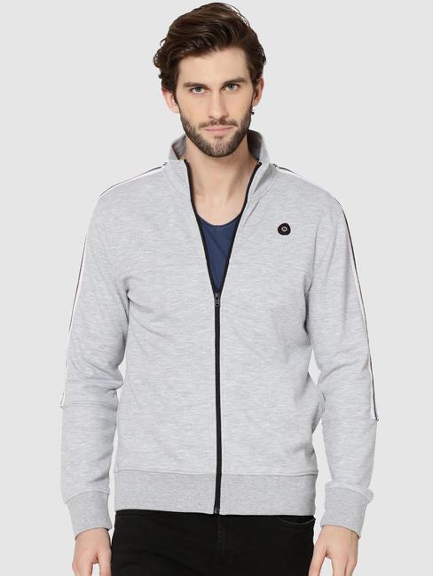 Light Grey Tape Detail Zip Up Sweatshirt