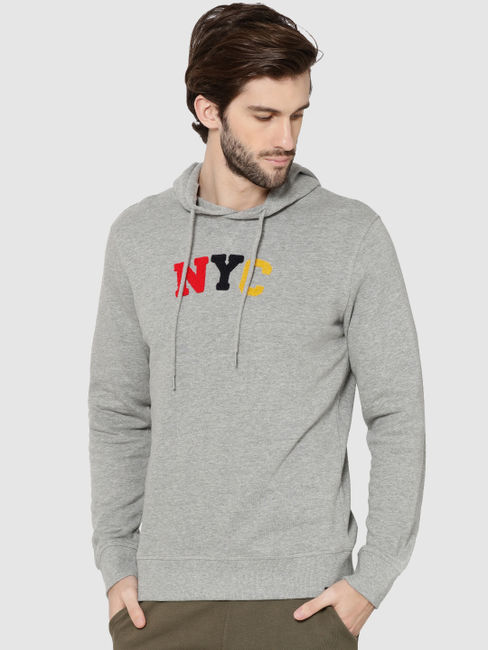 Grey NYC Print Hooded Sweatshirt