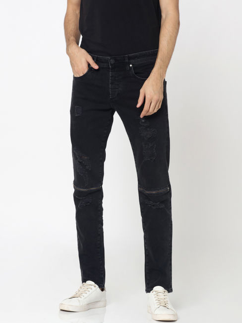 Black Heavy Distressed Zip Detail Glenn Slim Fit Jeans
