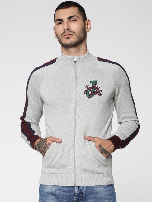 Grey Colourblocked Zip Up Cardigan