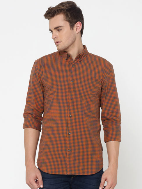 Brown Check Slim Fit Shirt