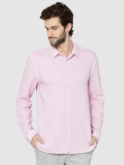 Pink Dobby Full Sleeves Slim Fit Shirt