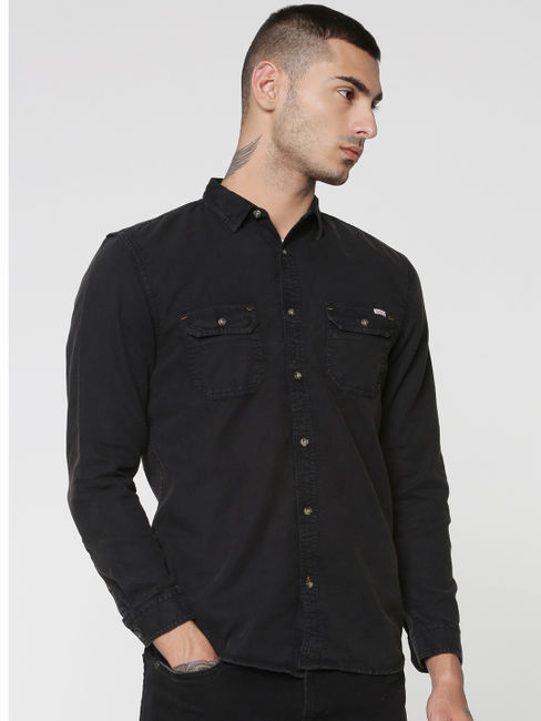 Black Two Patch Flap Pocket Full Sleeves Slim Fit Shirt