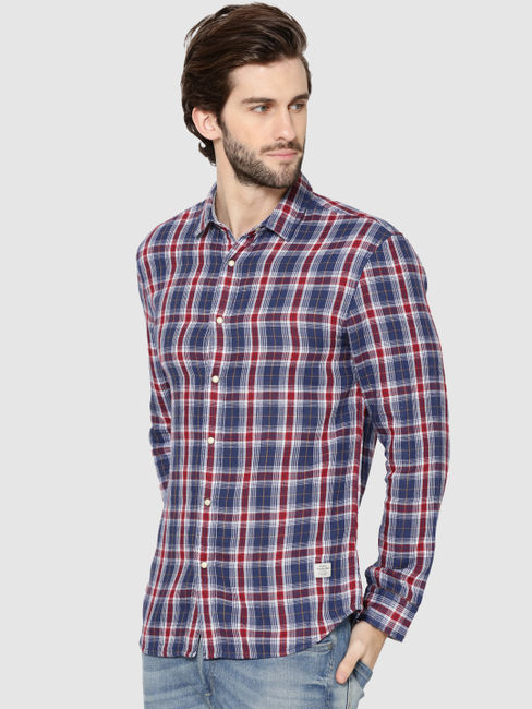 Blue Check Reversible Full Sleeves Shirt