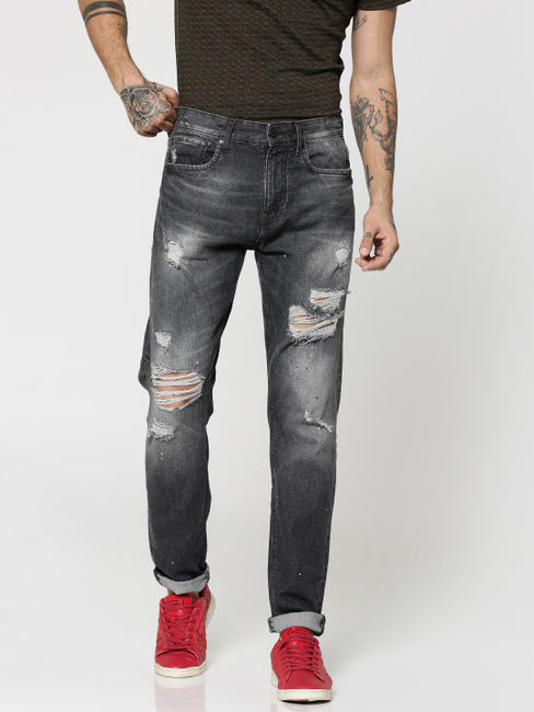 Black Highly Distressed Erik Anti- Fit Jeans