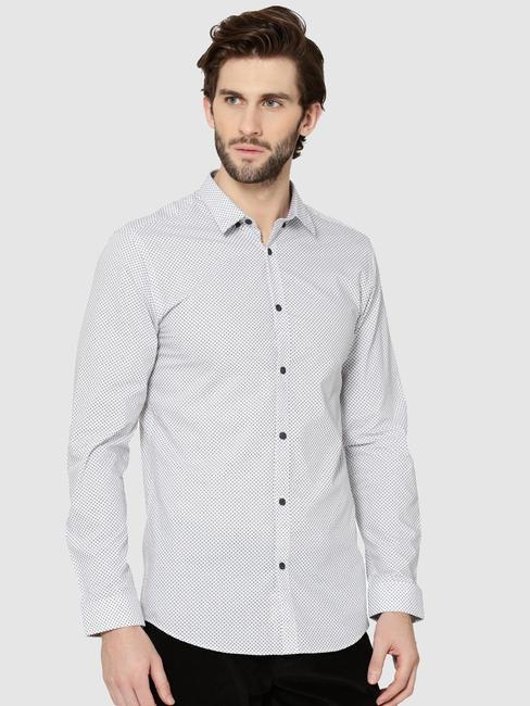 White All Over Print Full Sleeves Slim Fit Shirt