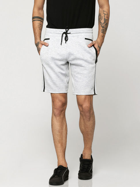 Light Grey with Black Piping Sweatshorts