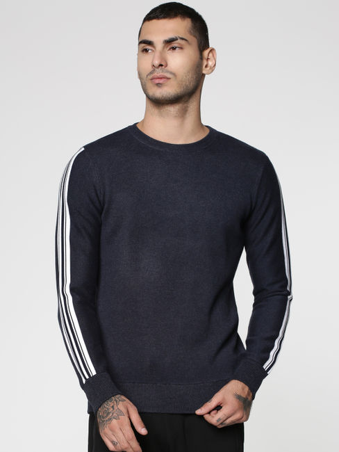 Blue Stripe Tape Detail Crew Neck Sweatshirt
