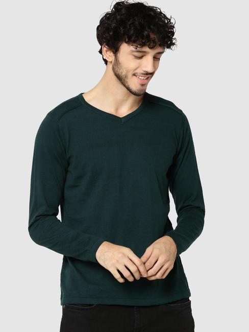 Green V-Neck Full Sleeves T-Shirt
