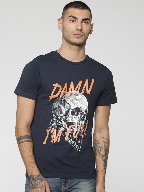Dark Blue Skull & Graphic Print Crew Neck T-Shirt