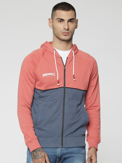 Peach Colourblocked Hooded Sweat Jacket