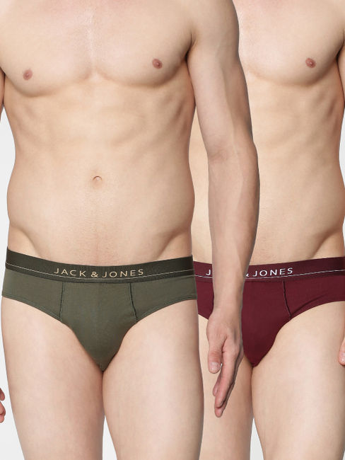 Pack of Two Briefs - Wine and Green