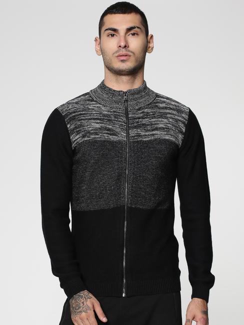 Black Colour Blocked Crew Neck Zip Up Sweatshirt