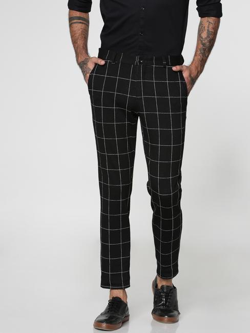 Black Checks Slim Fit Trousers