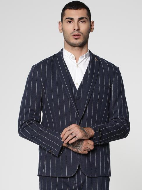 Navy Blue Lapel Collar Slim Fit Blazer