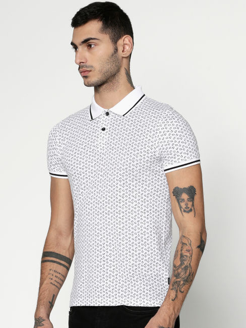 White All Over Printed Slim Fit Polo T-Shirt