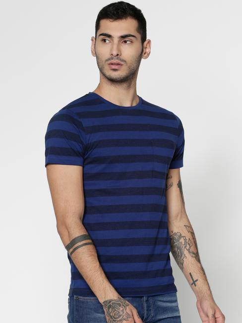 Blue Striped Slim Fit Crew Neck T-Shirt