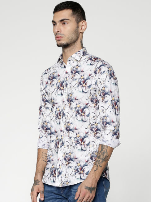 White All Over Floral Print Slim Fit Full Sleeves Shirt