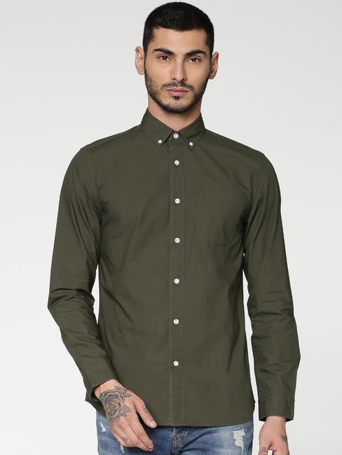 Green Slim Fit Full Sleeves Shirt
