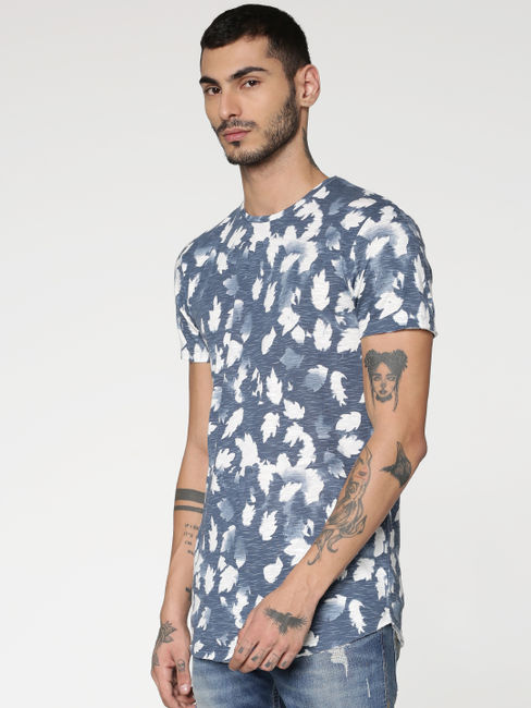 White and Blue All Over Tropical Print Slim Fit Crew Neck T-shirt