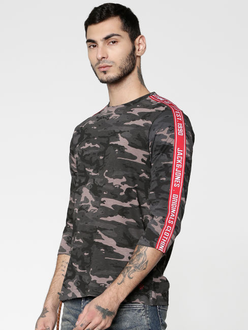 Grey Camo Print Side Tape Crew Neck T-shirt