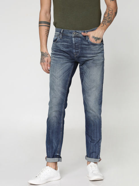 Blue Heavily Washed Tim Slim Fit Jeans