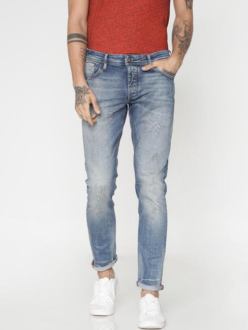 Light Blue Distressed Washed Glenn Slim Fit Jeans