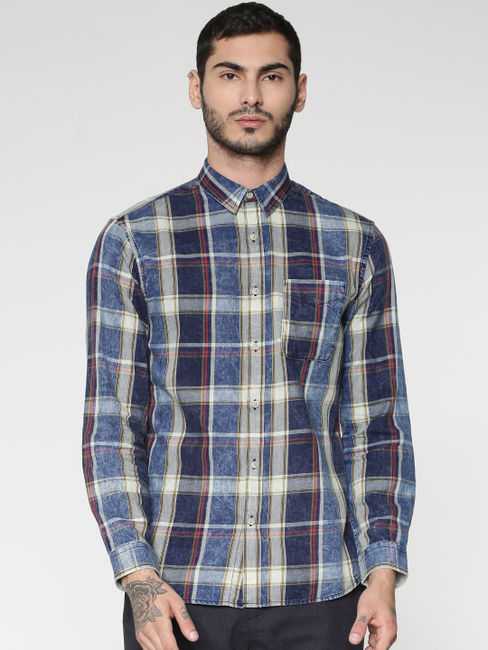 Blue Multicoloured Striped Washed Effect Slim Fit Full Sleeves Shirt