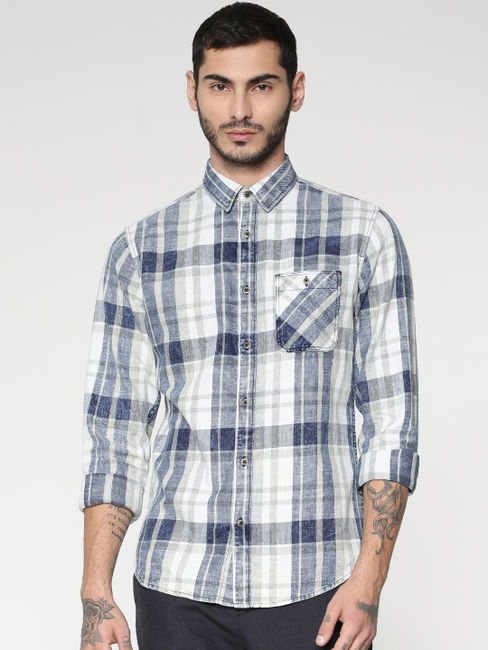 White Multicoloured Checks Washed Slim Fit Full Sleeves Shirt