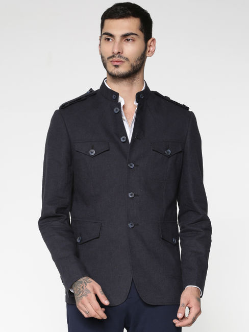 Navy Blue Mandarin Collar Slim Fit Blazer