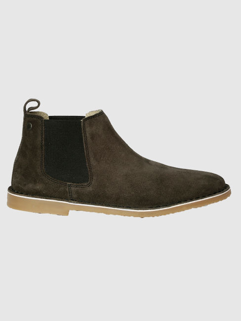 Black Suede Finish Leather Chelsea Boots