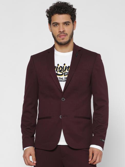 Burgundy Double Button Slim Fit Blazer