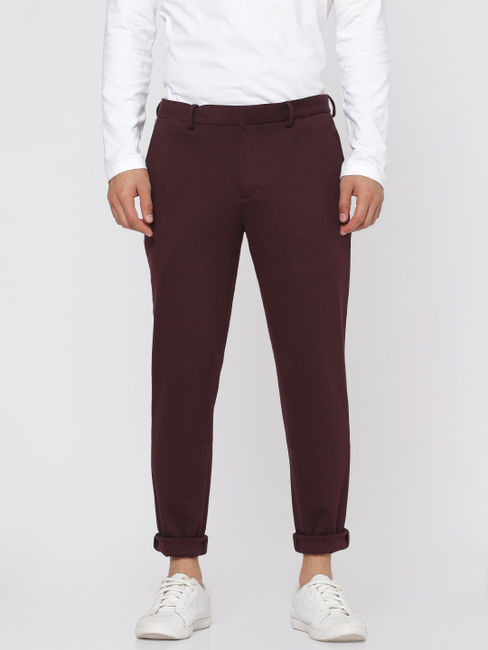 Burgundy Slim Fit Trousers