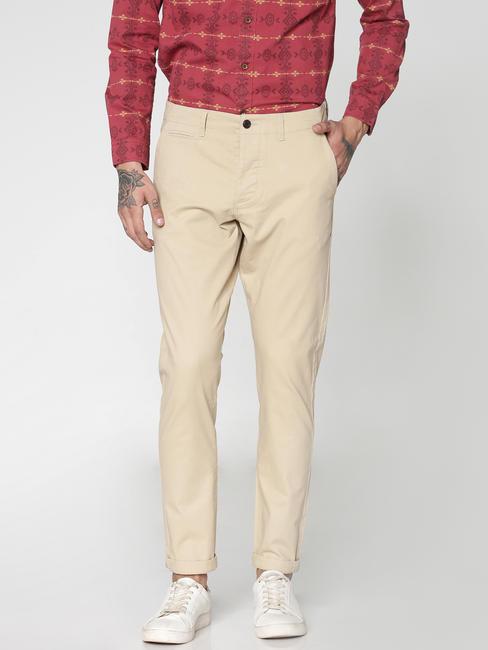 Beige Slim Fit Pants