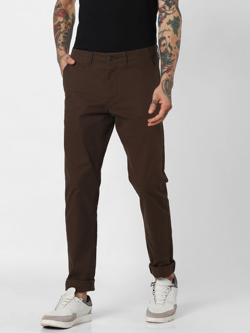 Dark Brown Mid Rise Pants