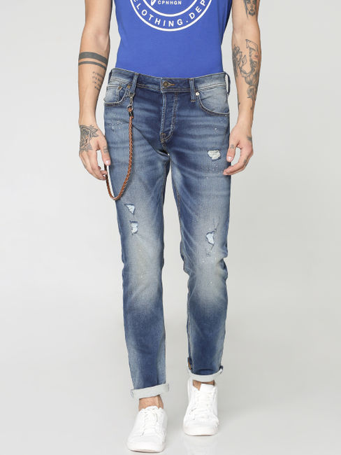 Dark Blue Ripped and Washed Tim Slim Fit Jeans