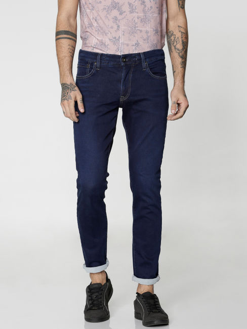 Blue Dobby Glenn Slim Fit Jeans