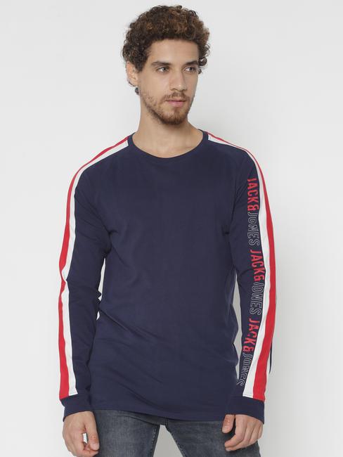 Blue Tape Detail Crew Neck T-shirt